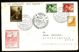 POSTE AÉRIENNE PARGRAF ZEPPELIN II 1939- VOYAGE EN ALLEMAGNE A EGER PAYS DES SUDETES- 13-8-39- - Airmail