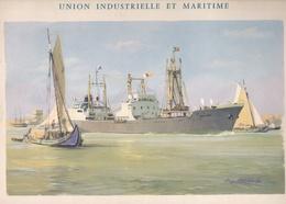 """Gravure Originale  """"union Industrielle Et Maritime""""  De Roger Chapelet Format 25x 31 - Boats"""