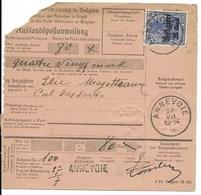 Postwissel Met OC Nr 18 En Verso 12 In Paar Van Annevoie Naar Bioul - Weltkrieg 1914-18