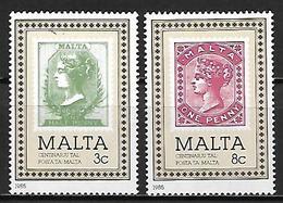 MALTE    -   1985 .   Y&T N° 700 / 701 **.   Centenaire Du Timbre Maltais.  Timbre Sur Timbre. - Malte