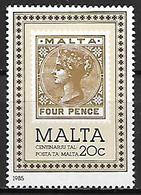 MALTE    -   1985 .   Y&T N° 703 **.   Centenaire Du Timbre Maltais.  Timbre Sur Timbre. - Malte