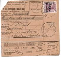 Postwissel Met OC Nr 6 En Verso Nr 14 Van Luttre Naar Mont-sur-Marchienne - Guerre 14-18