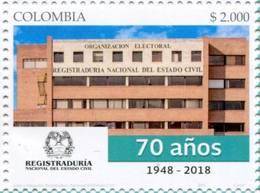 Lote 2018-23, Colombia, 2018, Sello, Stamp, Registraduría Nal Del Estado Civil, National Registry Of Civil Status - Colombia