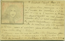 JEAN DE CALDAIN - AUTOGRAPH POSTCARD WITH DRAWING OF JESUS - MAILED 1899 (BG72) - Illustrators & Photographers