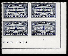 USA, 2018, 5281,Airmail, Blue, Plate Block, LR,Forever, MNH, VF - Unused Stamps