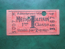 "ANCIEN TICKET Métro Hebdomadaire "" I "" 1° Classe Rosé - PARIS 1941 - TBE - Monde"