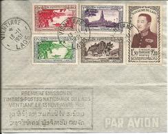 Enveloppe Avec Oblitération Ventiane 13 Novembre 1951 - 1er Emission Timbres Poste Du Laos - Laos