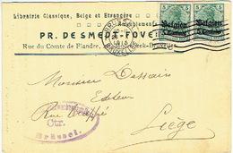 CP/PK Publicitaire  1915 MOLENBEEK-BRUXELLES - PR. DESMEDT-FOVEL - Librairie - Censure Militaire BRUSSEL - Molenbeek-St-Jean - St-Jans-Molenbeek