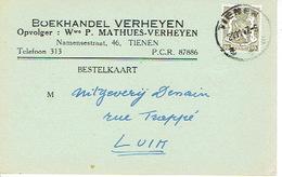 CP/PK Publicitaire TIENEN 1947 -  Boekhandel VERHEYEN - Opvolger : Wwe P. MATHUES-VERHEYEN - Tienen