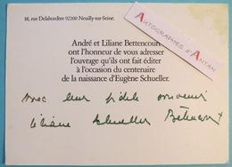 Carton Invitation André Liliane BETTENCOURT Centenaire De La Naissance D'Eugène Schueller - Neuilly Sur Seine Autographe - Autographes