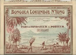 PART DE FONDATEUR ILLUSTREE - BONGOLA LOKUNDJE N'YONG -TTB - ANNEE 1927 - Bank & Insurance