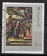 MALTE    -   1984 .   Y&T N° 694 Oblitéré.  Noël.  Tableau - Malte