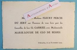 Famille FLEURY PERCIE DU SERT & DE GLO DE BESSES - Faire Part Fiancailles - 1919 - TEBOURBA En TUNISIE Tunisia - Fiançailles