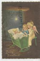 Zalig Kerstfeest. Un Ange Et Une Fillette En Adoration Devant L'Enfant-Jésus Dans Un Lit à Bascule. Carte Gaufrée. - Noël