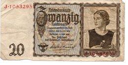 Billet  20 Reichsmark Juin 1939 - [ 4] 1933-1945 : Troisième Reich