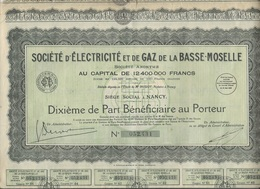 SOCIETE D'ELECTRICITE ET DE GAZ DE LA BASSE MOSELLE LOT DE 3 DIXIEME DE PART BENEFICIAIRE - Electricity & Gas