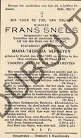 Doodsprentje Frans Snels °1861 Wortel, Hoogstraten †1936 Burgemeester Van Wortel Echtg. M-T Verheyen (G6) - Décès