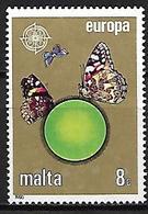 MALTE    -   1986 .   Y&T N° 727 Oblitéré .  EUROPA..  Papillon - Malta