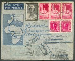Lettre Affr. 70c. Astrid + 3x1Fr. Expo De Bruxelles + 2x1Fr. Léopold III Col Fermé  Sc BRUXELLES 1 Du 15-11-1935 Vers Ma - Luchtpost
