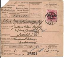 Postwissel Met OC Nr 3 En Verso 14 Van Jurbise Naar Etterebeek 1 - Weltkrieg 1914-18