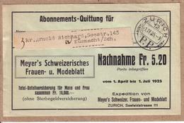 SUISSE - ZURICH - RECU , BILLET - MEYER'S SCHWEIZERISCHES FRAUEN U. MODELBLATT , EXPEDITION VOM 1. APRIL BIS 1 JULI 1925 - Tickets D'entrée