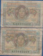 France- Trésor Francais -1947 -  2 Billets De 10 Frs  ( Usagéq ) Cat Fayette N°   VF/ 30 - Treasury