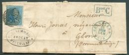 N°2 - Epaulette 20 Centimes Bleue, TB Margée Et Voisin Obl. P.24 Sur Lettre Avec Contenu De BRUXELLES 26 Juin 1850 + Gr - 1849 Epaulettes