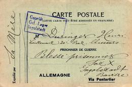 CARTE POSTALE EN FRANCHISE POUR PRISONNIER DE GUERRE VIA PONTARLIER - Weltkrieg 1914-18