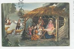 Joyeux Noël. Sainte Famille à La Crèche, Anges Musiciens Et Bergers. Signé T. Monestier - Autres