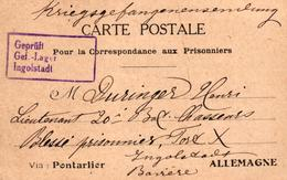 CARTE POSTALE EN FRANCHISE POUR PRISONNIER DE GUERRE VIA PONTARLIER - Guerre 1914-18