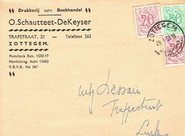 PK Publicitaire ZOTTEGEM 1954 - Header O. SCHAUTTEET-DEKEYSER - Drukkerij - Boekhandel - Zottegem