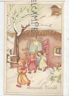 Joyeux Noël. Trois Anges Devant La Crèche (?) Portant Une Pomme Et Un épi De Blé. - Kerstmis