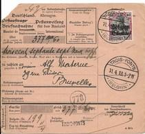 Rembourszending Met Nr OC Nr 5 En Verso 14 Van Trois-Ponts Naar Elsene; Stempel Lierneux ? - Guerre 14-18