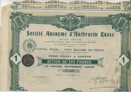 SOCIETE D'ANTHRACITE RUSSE - LOT DE 3 ACTIONS DE 100 FRANCS - ANNEE 1907 - Mines