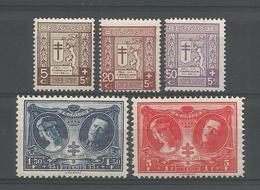 Belgium 1926 Anti Tuberculosis  OCB 240/244 ** - Unused Stamps