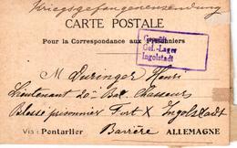 CARTE POSTALE EN FRANCHISE POUR PRISONNIER DE GUERRE VIA PONTARLIER - AVEC TREFLE A QUATRE FEUILLES - Guerre 1914-18