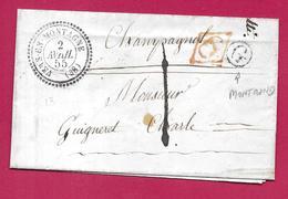 CAD TYPE 22 VERS EN MONTAGNE JURA 1855 TAXE LOCALE 1D CD ROUGE BOITE RURALE G MONTROND POUR CHAMPAGNOLE - 1849-1876: Période Classique