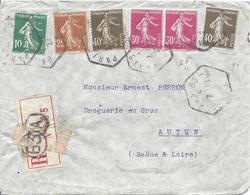 10c Vert N°159 +40c Brun-olive N°193 (2) +30c Rose N°191 (2) +25c Jaune-brun N°235 Tarif 1.75F PARIS 63A HEXAGONAL 10 29 - 1906-38 Sower - Cameo