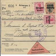 Rembourszending Met Nr 14 En 19 En Verso 12 (vert. Paar) Van Antwerpen 2 Naar Nivelles Nijvel - Weltkrieg 1914-18