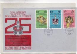 25 JUBILEE OF HER MAJESTY QUEEN ELIZABETH II. FDC 1977 NEW HEBRIDES. 3 COLOR STAMPS - BLEUP - English Legend
