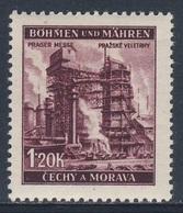 """Böhmen Und Mähren 1941 Mi 77 SG 66 * MH - Blast-furnace, Pilsen - Prague Fair / """"Industrie"""" (Hochofen) - Prager Messe - Fabrieken En Industrieën"""