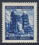 """Böhmen Und Mähren 1941 Mi 78 SG 67 * MH - Blast-furnace, Pilsen - Prague Fair / """"Industrie"""" (Hochofen) - Prager Messe - Treinen"""