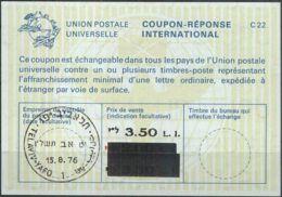 ISRAEL 1976 Nr. 48 IAS IRC CRI Int. Antwortschein 3.50 Auf 3.30 / 2.20 L.I. - Israel