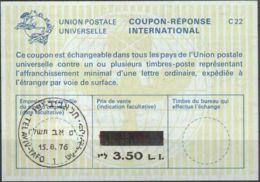 ISRAEL 1976 Nr. 49 IAS IRC CRI Int. Antwortschein 3.50 Auf 3.30 L.I. - Israel