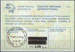 ISRAEL 1977 Nr. 53 IAS IRC CRI Int. Antwortschein 3.90 Auf 2.00 / 1.70 L.I. - Israel
