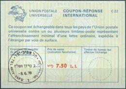 ISRAEL 1978 Nr. 66 IAS IRC CRI Int. Antwortschein 7.50 L.I. - Israel