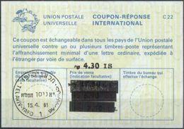 ISRAEL 1981 Nr. 106 IAS IRC CRI Int. Antwortschein 4.30 Auf 17.50 / 7.50 / 6.90 IS - Israel