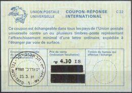 ISRAEL 1981 Nr. 99 IAS IRC CRI Int. Antwortschein 4.30 Auf 17.50 / 11.80 IS - Israel