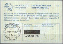 ISRAEL 1982 Nr. 126 IAS IRC CRI Int. Antwortschein 15.50 Auf 3.80 IS - Israel