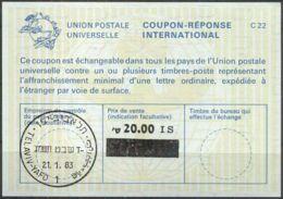 ISRAEL 1983 Nr. 137 IAS IRC CRI Int. Antwortschein 20.00 Auf 18.10 IS - Israel